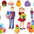 Boy and girl with gifts in their hands, and separately gifts and children — Stock Vector