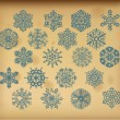 Set of vector vintage snowflakes on vintage background — Векторная иллюстрация