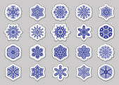 Set blue snowflakes on transparent background — Stockvektor