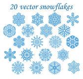Vector set blue snowflakes — Stock Vector