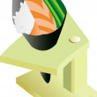 Royalty-Free Stock Imagen vectorial: Temaki on stand