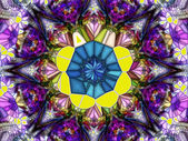 Stained glass mosaic. Geometric abstract ornament. Kaleidoscop — Stock Photo