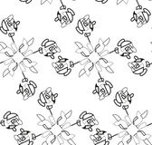 Abstract seamless black and white pattern of scribble in crosses — Stockvektor