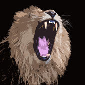 Huge fangs of an Asian lion, isolated on black background. King of beasts, biggest cat of the world. The most dangerous and mighty predator of the world with open chaps. Square vector image. — Stock Vector