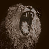 Huge fangs of an Asian lion, isolated on black background. The King of beasts, biggest cat of the world. The most dangerous and mighty predator of the world with open chaps. Square vector image. — Stock Vector