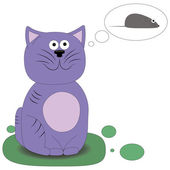 Cat dreaming of a mouse — Stock Vector