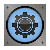 Setup button on the steel plate for your use — Stock Vector