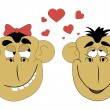 Illustration of two lovers monkey — Stock Vector