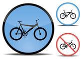 Conjunto de botones con un cuadro de la bicicleta — Vector de stock