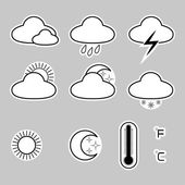 Icons indicate the weather on a gray background — Stock Vector