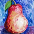 Stock Photo: Beautiful pear painted with gouache