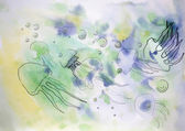 Jellyfish painted in watercolor and ink — ストック写真