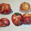 Fruit painted in watercolor on paper — Stock Photo