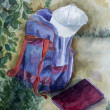Stock Photo: Schoolbag textbook and cap painted in watercolor