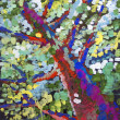 Stock Photo: Gouache drawing colorful foliage on the tree