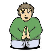 Illustration of a man pray to God from — Stock Vector