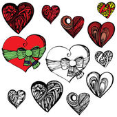 Abstract illustration of heart in different styles — Stock Vector