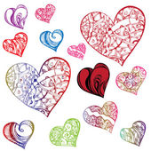 Clipart hearts in different shapes and colorings — Vettoriale Stock