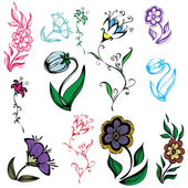 Illustration of flowers of different sizes and colors — Stok Vektör