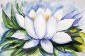 Beautiful drawing lotus watercolor paint — Stock Photo