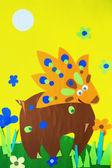 Ilustração de dinossauro alegre brilhante cartoon — Fotografia Stock