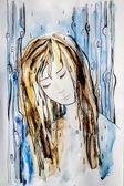 Abstract watercolor painting girl in the rain — Stock Photo