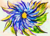 Bright color illustration with a big blue flower — Stock Photo