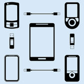 Illustration of different models of phones — Stock Vector