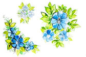 Bright beautiful blue flowers with leaves — Stock Photo