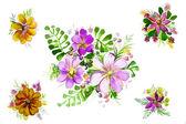 Ilustracja piękne kwiaty z liści — Zdjęcie stockowe