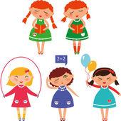 Cute_schoolgirls — Stock Vector
