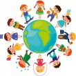 Children_around_the_world - Stock Vector