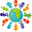 Silhouettes_children_world - Stock Vector