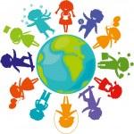 Silhouettes_children_world — Stock Vector