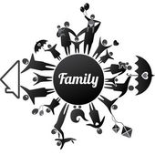 FamilyBlack — Stock Vector