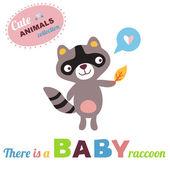 Raccoon Baby — Stock Vector