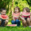 Happy smiling children eating fruits in park — Stock Photo