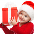 Stock Photo: Girl smiling with gift box.