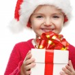 Girl smiling with gift box . — Stock Photo