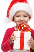 Girl smiling with gift box . — Foto de Stock