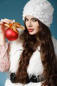 Girl with Christmas ball — Stock Photo