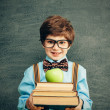Little boy with books and apple — Stock Photo #48722633