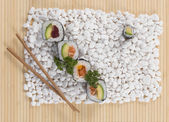 Close-up of sushi rolls on table — Stock Photo
