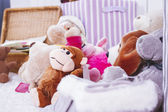 Stuffed animal toys in interior room — Stock Photo