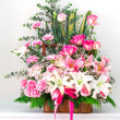 Stock Photo: Basket of Carnation lily and rose