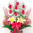 Stock Photo: Basket of lily and rose