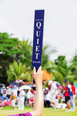 Quiet sign in golf tournament — Foto Stock