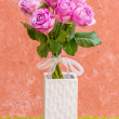 Violet rose in vase — Stock Photo