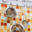Sieve in kitchen — Stock Photo