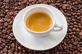Café expresso e café em grão — Fotografia Stock